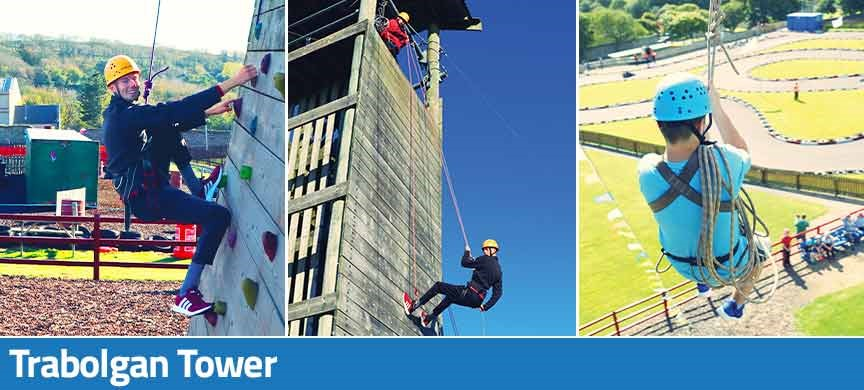 Trabolgan Tower includes rock climbing, abseiling and zip wire